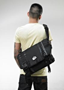 BLACK ON BLACK MESSENGER BAG
