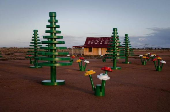 LEGO 'pine' trees scaling 4 metres in height and 15 flower sets