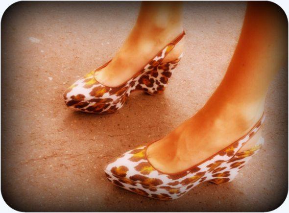Animal Print Sling Wedge Shoes