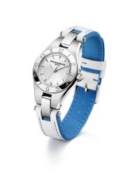 OCEAN FOAM - the sun is high in the sky and the ocean is blue...time for a fresh white calfskin strap with blue lining and stiches
