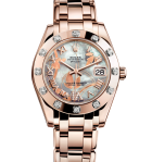 Rolex Datejust Special Edition 34mm, in Everose gold, with a bezel set with 12 brilliant-cut diamonds, a Goldust Dream dial and Pearlmaster bracelet.