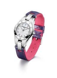 SKY DAWN - Begin the day with a strap in violet calfskin with pink lining and stiches