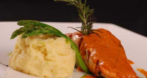 Mashed Potato with Grilled Salmon.