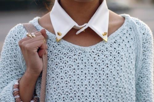 white studded gold collar.