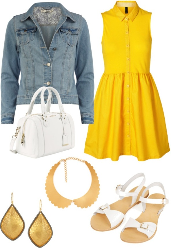 OUTFIT Style : Gold Necklace Collar style combination.