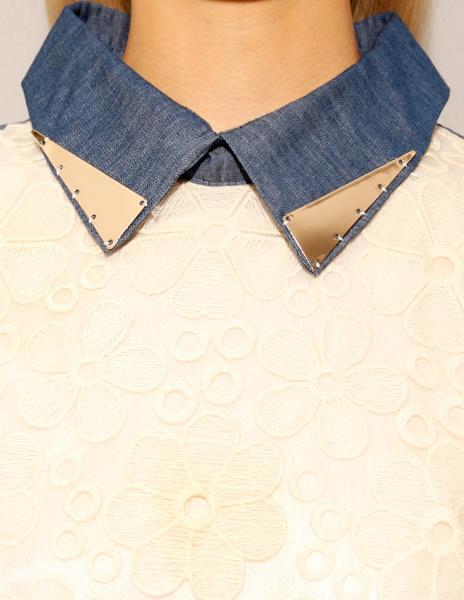 Metal Tipped Denim Collar