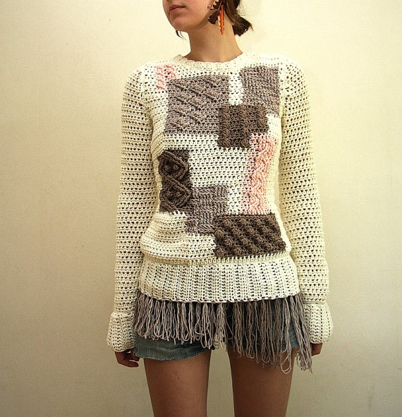 Hipster patchwork style sweater