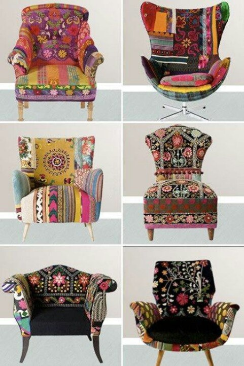 Patchwork couch decor inspiration.