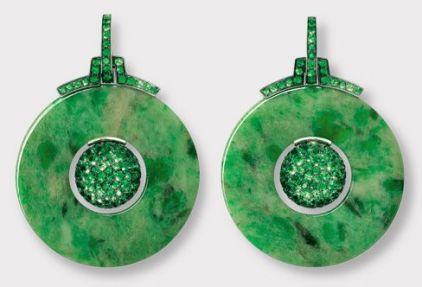 Hemmerle Tsavorite garnets jade earrings