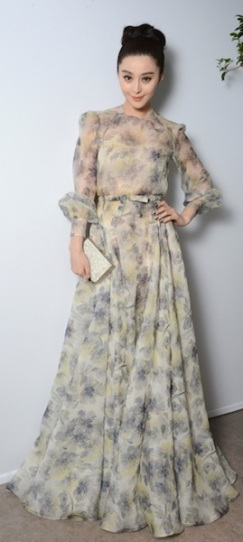 Fan BingBing in a floral Valentino Coutur.
