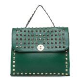 Green studded handbag