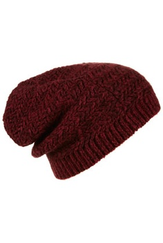Knitted burgundy beanie, to hide ur bad hair looks.