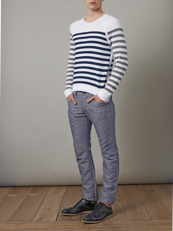 Navy  style cotton sweater, for semi-chic casual.