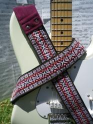 pink wooven jacquard guitar strap