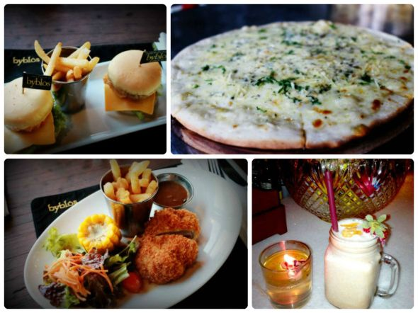 clcockwise : Cheese Burger, Pizza Quattro Formaggi, Marvel Booster Moctail, & chicken Cordon Blue