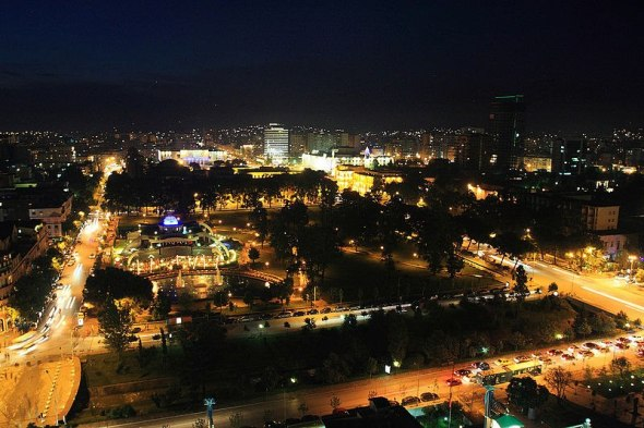 Photo is of the city at night.