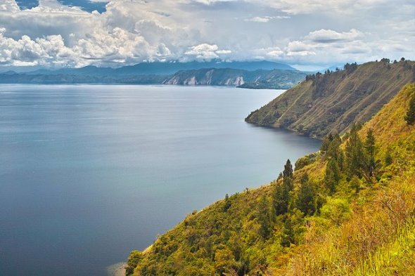 MEDAN : Lake Toba is formed from volcanic eruptions, is the largest lake in Indonesia (100 km long and 30 km wide).