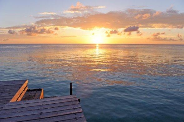 MARATUA ISLAND :  romantic sunset on the waterfront in East Kalimantan island.